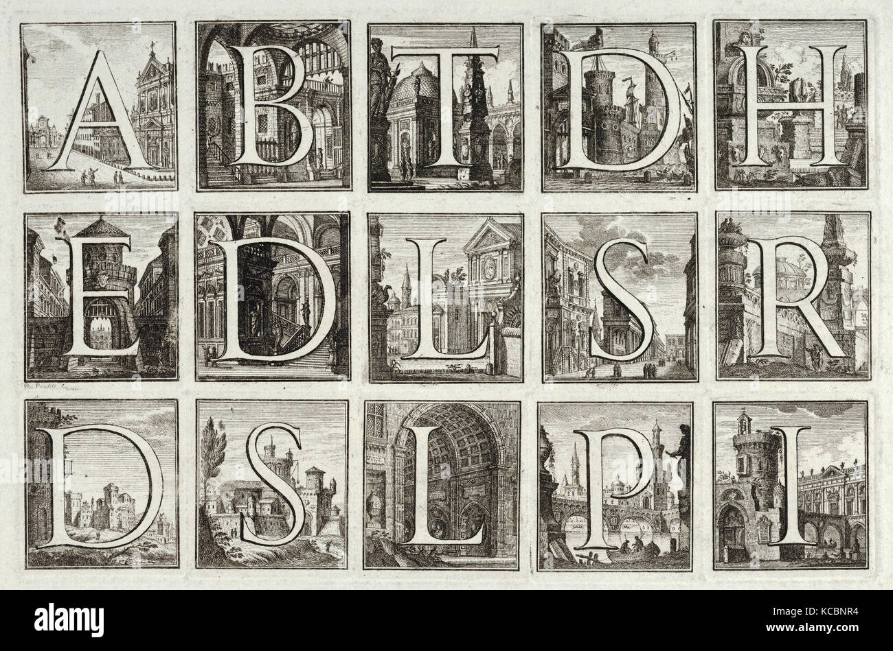 Dessins et gravures, d'impression, de l'alphabet romain contre les milieux architecturaux, de G. P. Zanotti Photo Stock
