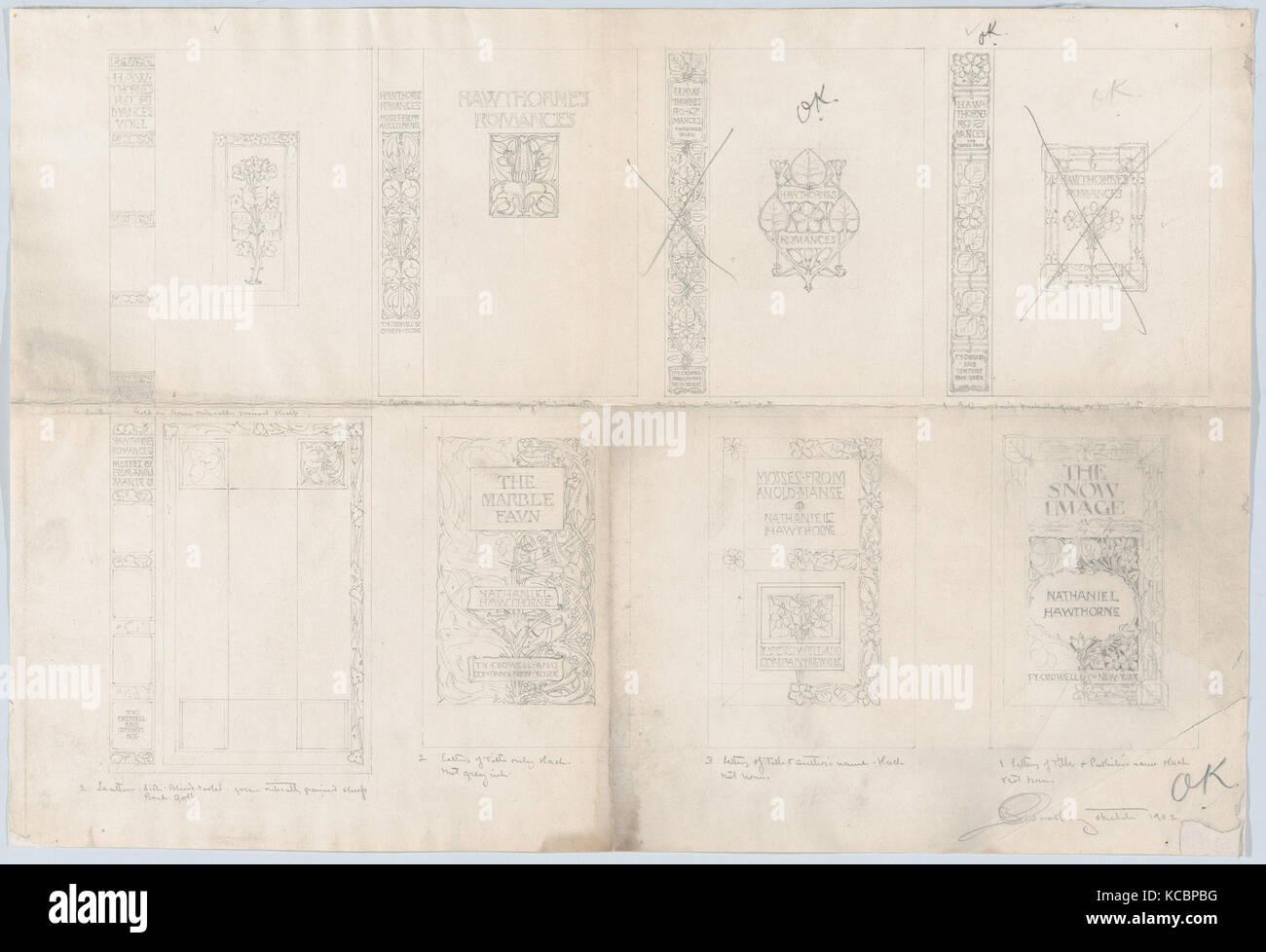 Habillages pour 'Romances, d'Hawthorne est' publié par Thomas Y. Crowell, Bertram Goodhue, 1902 Photo Stock