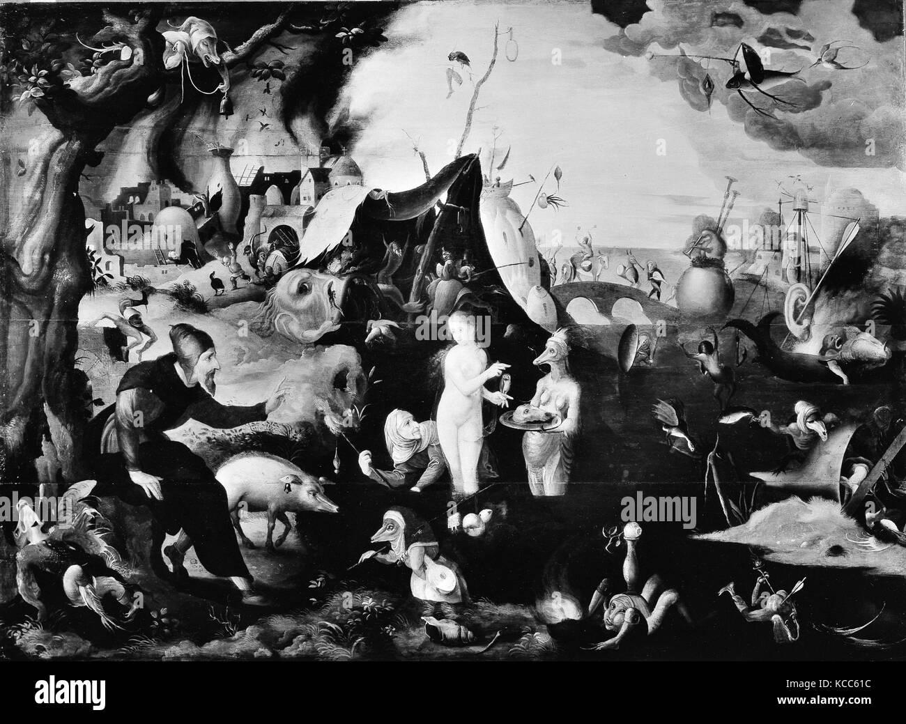 La Tentation de Saint Antoine, attribué à Pieter Huys Photo Stock