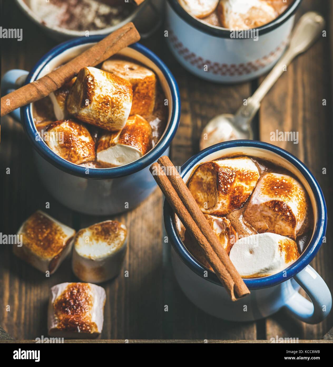 Chocolat chaud avec de la cannelle et des guimauves grillées, carré petit Photo Stock