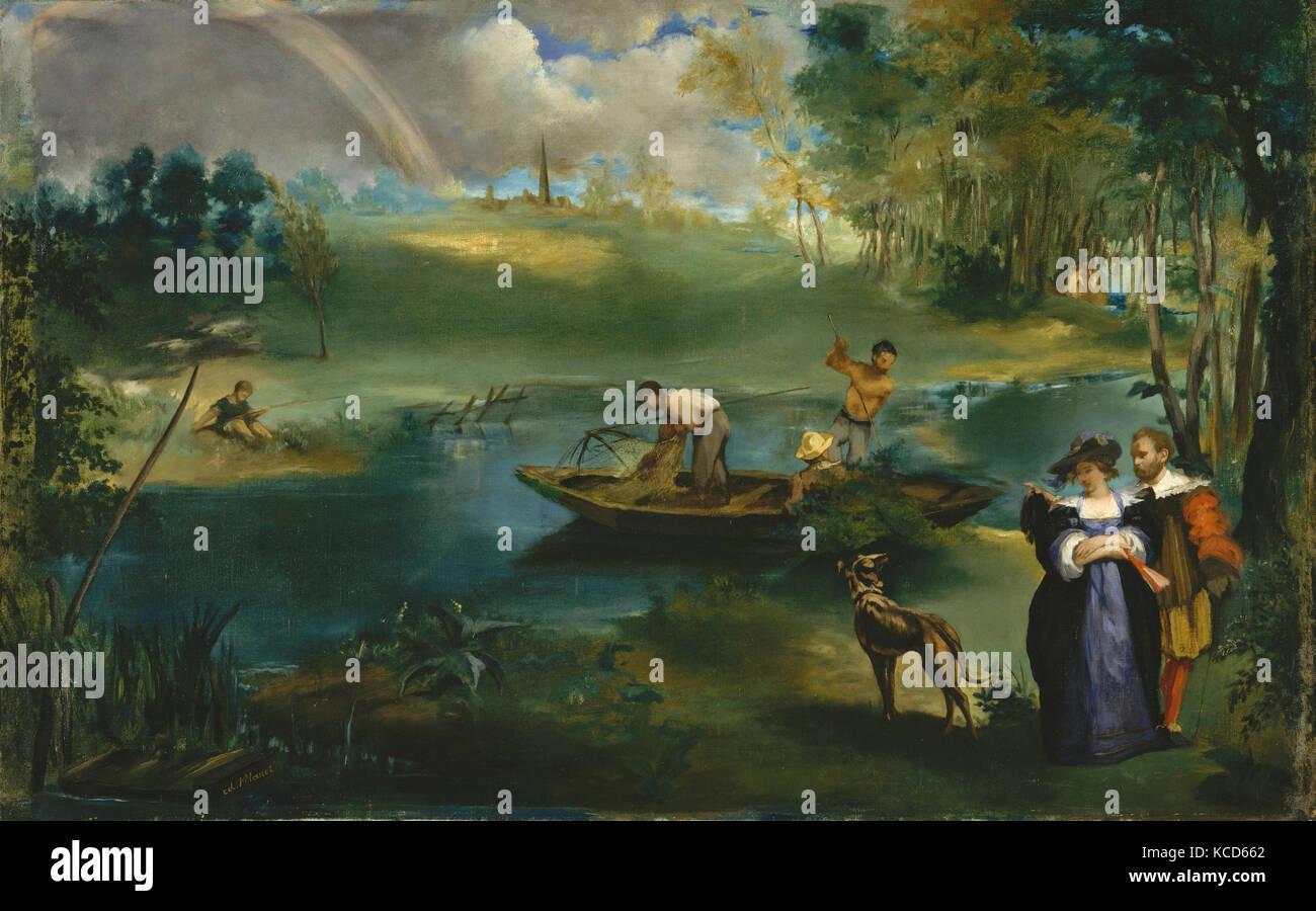 Pêche à la ligne, ca. 1862-63, huile sur toile, 30 1/4 x 48 1/2 in. (76,8 x 123,2 cm), peintures, Édouard Manet (français, Paris 1832-1883 Banque D'Images