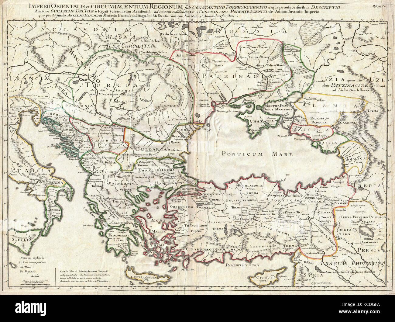1715, De L'Isle Carte de l'Empire romain sous Constantin, l'Asie Mineure, des Balkans, de la Mer Noire Photo Stock