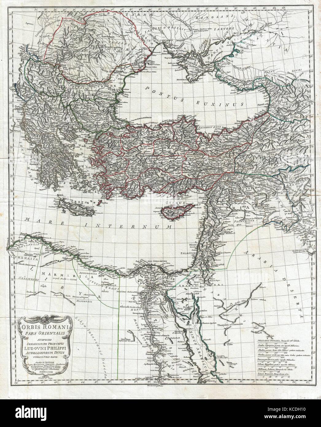 1782, la carte d'Anville de l'Empire romain Photo Stock