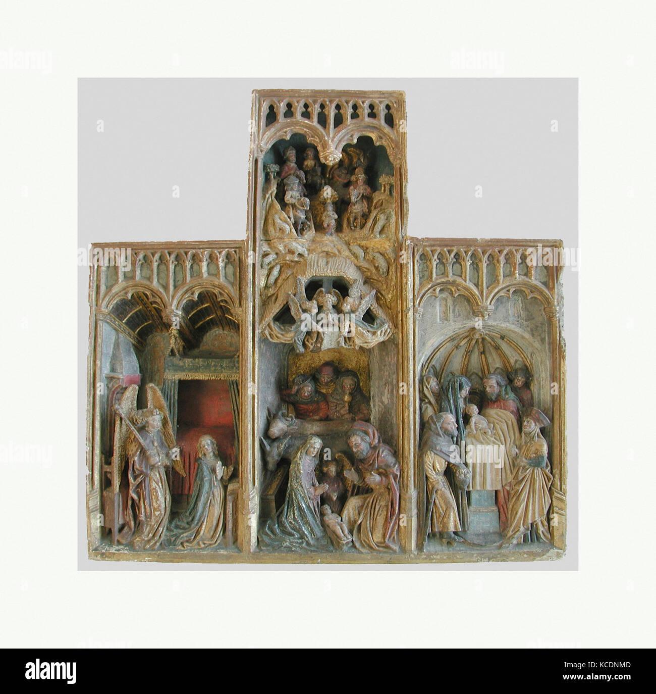 Retable avec des scènes de l'Enfance du Christ, fin du 15e siècle Photo Stock