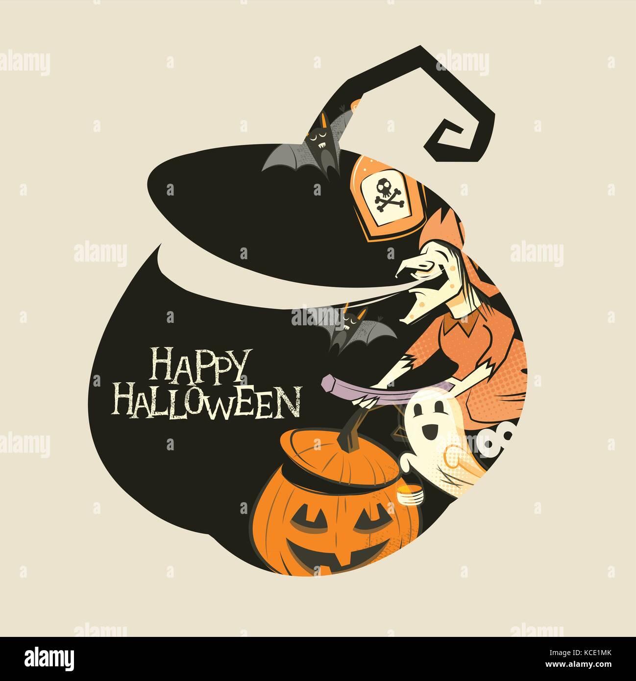 Silhouette de citrouille halloween décorations spooky! Vector illustration. Photo Stock
