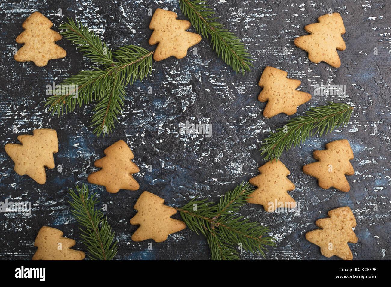 Gingerbread cookies de noël, vu de dessus, l'arrière-plan Photo Stock