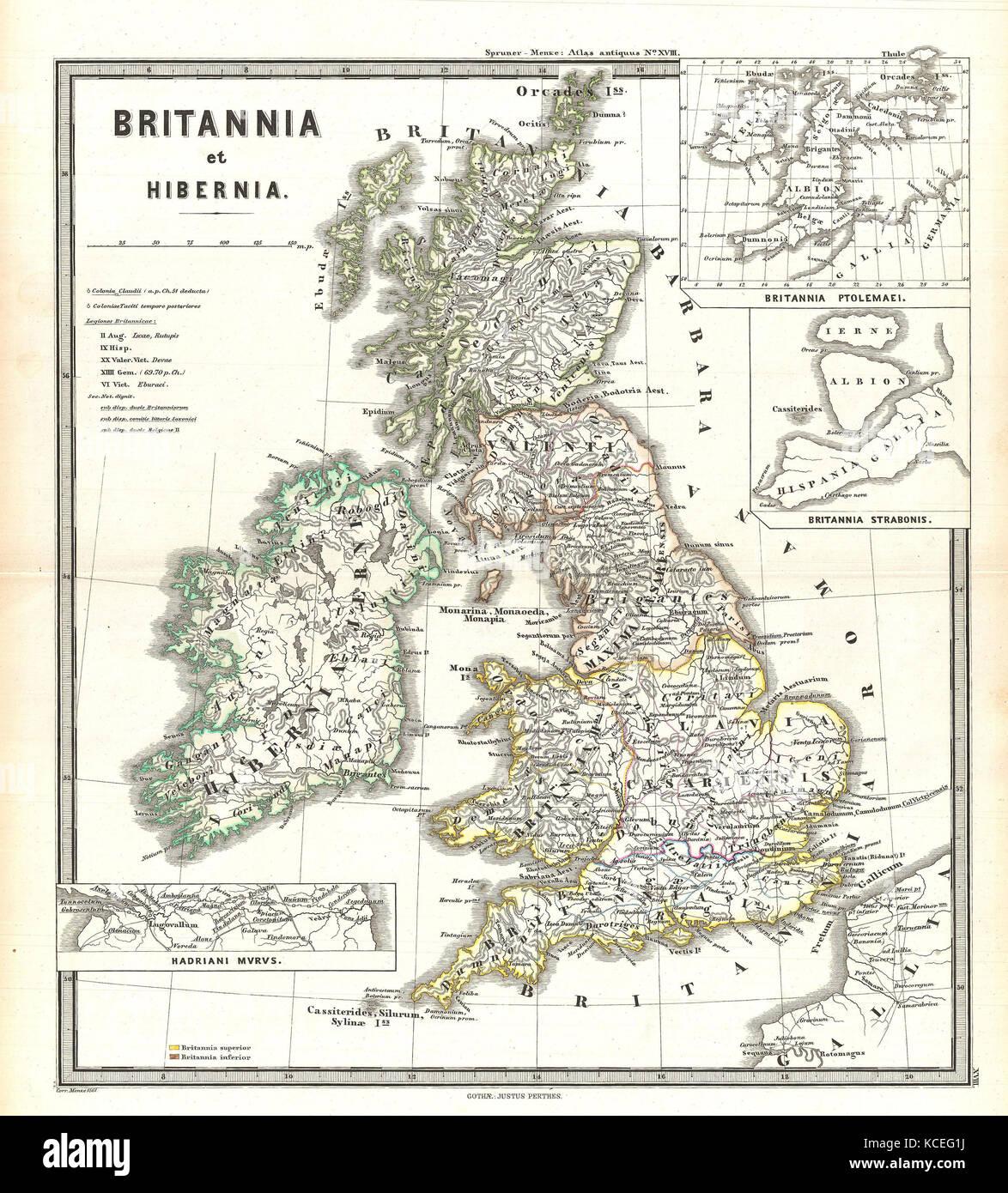 Carte Angleterre Ecosse.Spruner 1865 Carte Des Iles Britanniques L Angleterre Ecosse