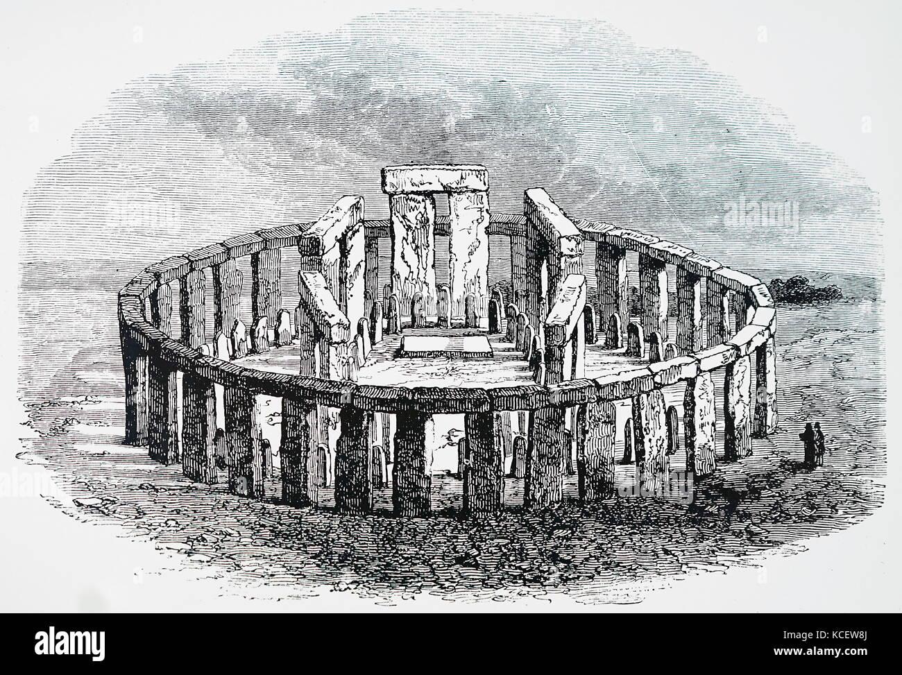 Impression de Stonehenge qu'il le serait si en date du 19e siècle restauré. Photo Stock