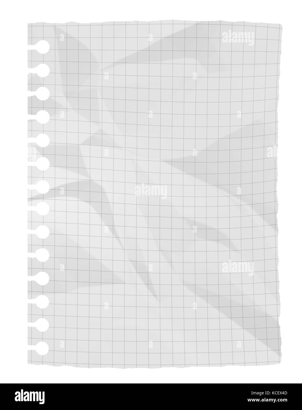 Feuille de papier blanc froissé isolé sur fond blanc Photo Stock