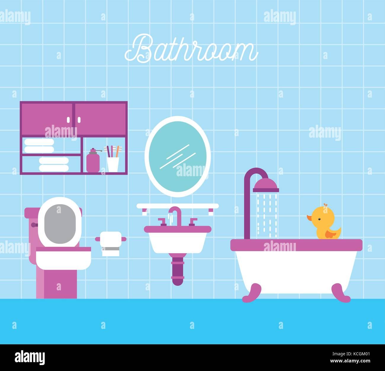 Salle de bain baignoire douche wc cabinet de papier et de canard ...