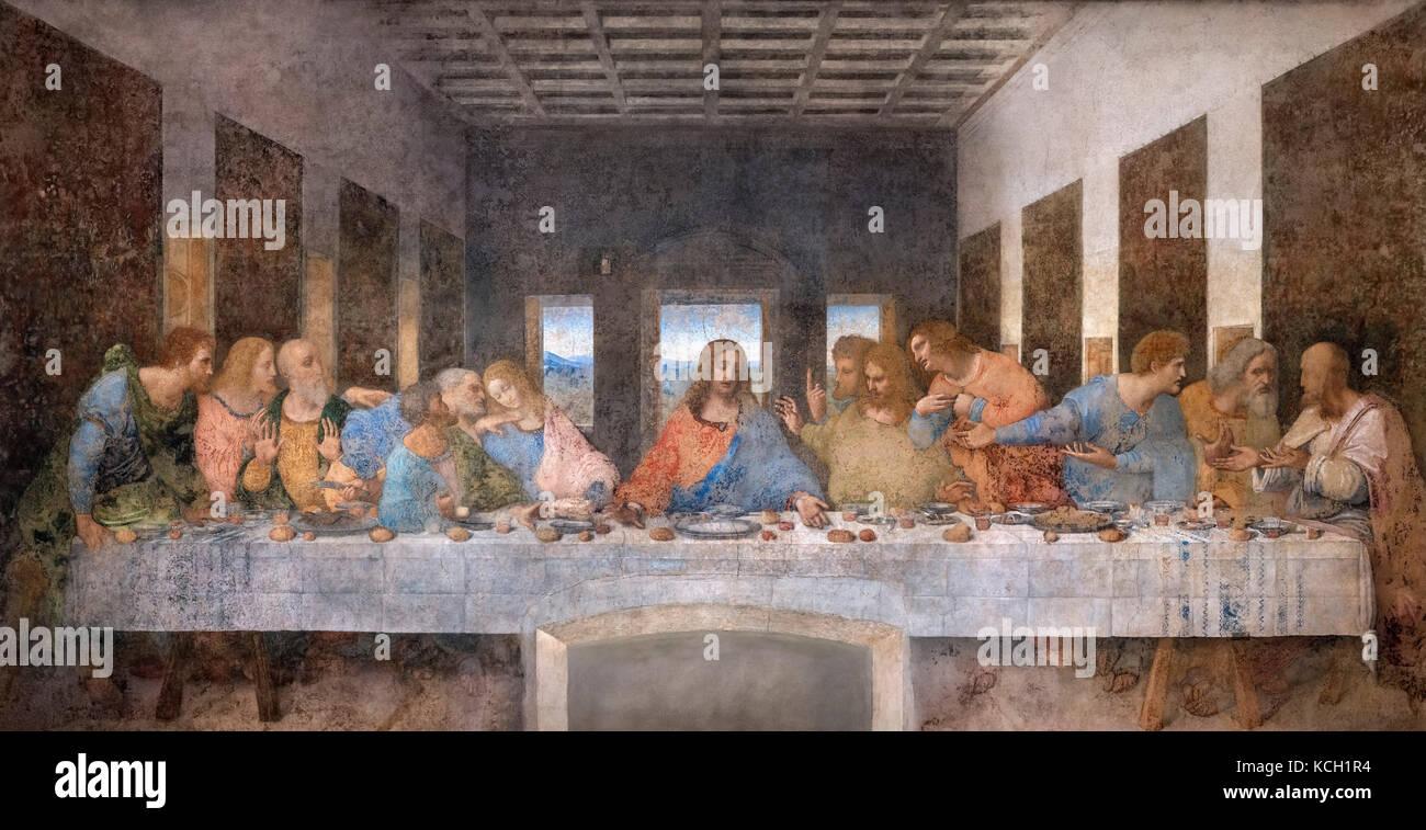 Dernière Cène, Da Vinci. La Cène de Léonard de Vinci (1452-1519) c.1494-98, au réfectoire Photo Stock