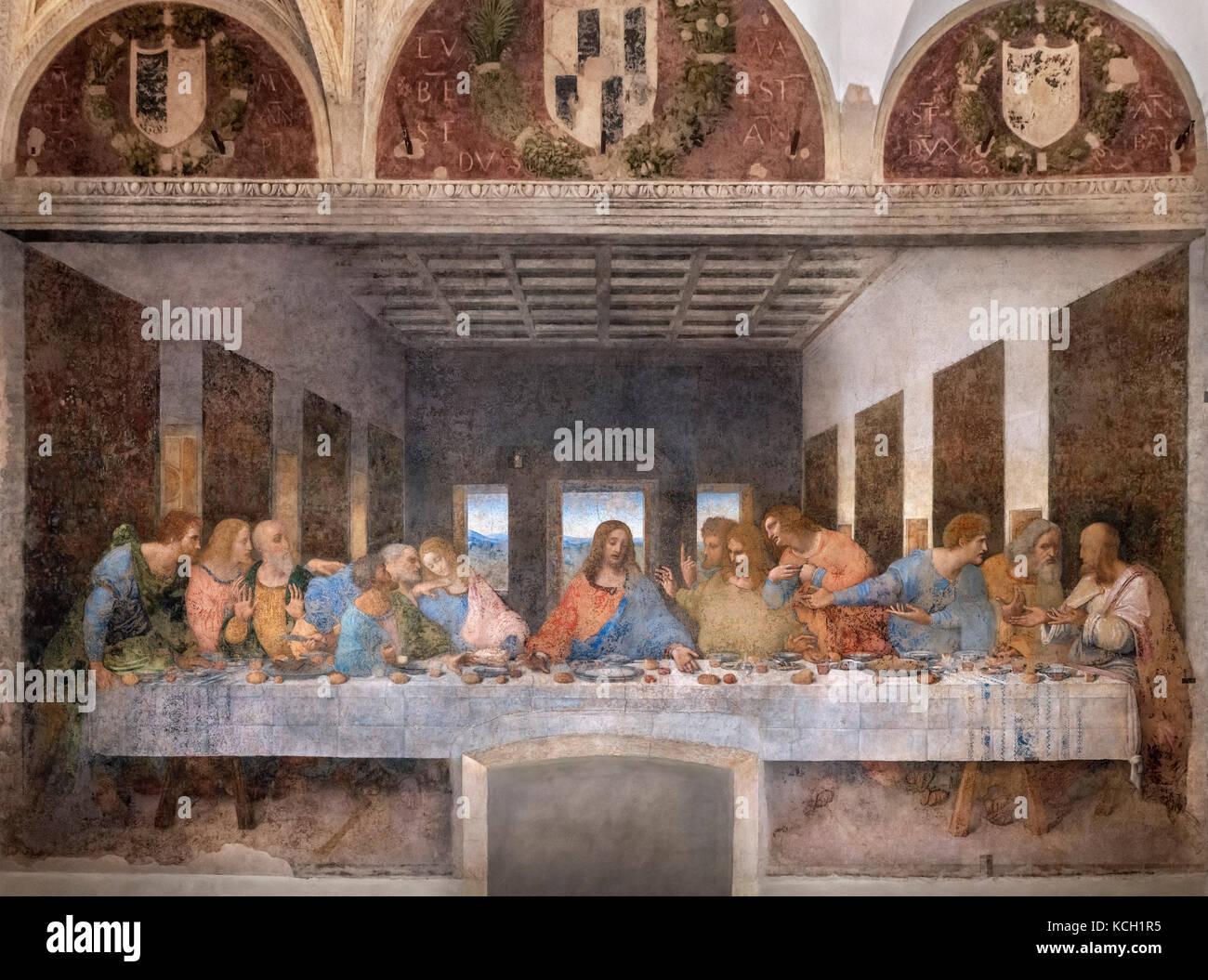 La dernière Cène (Cenacolo Vinciano) par Léonard de Vinci (1452-1519) c.1494-98, au réfectoire Photo Stock