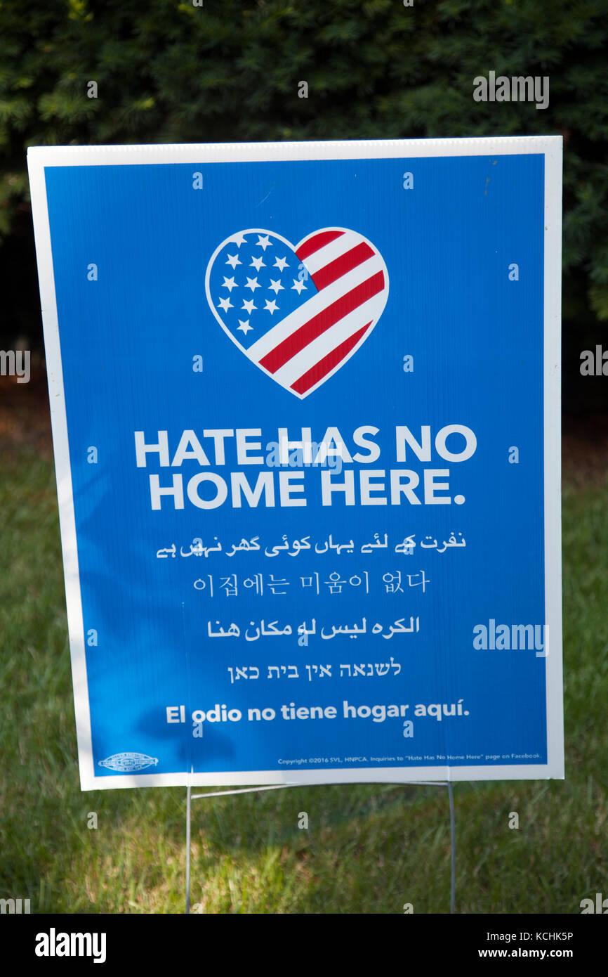 La haine n'a pas d'Accueil Se connecter à New Hope en Pennsylvanie aux Etats-Unis Photo Stock