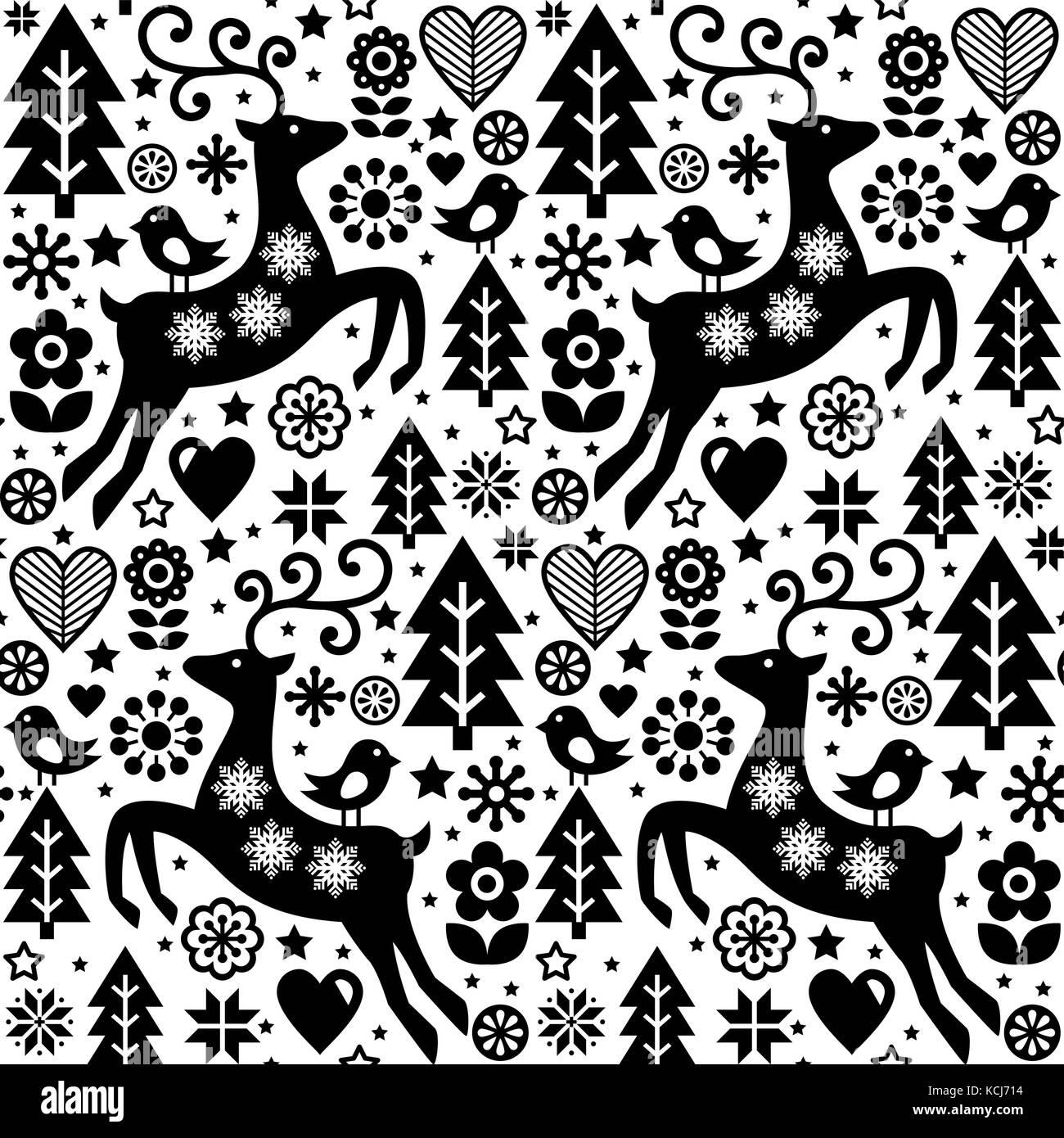 Vecteur De Noël Style Folk Motif Transparent Scandinavian