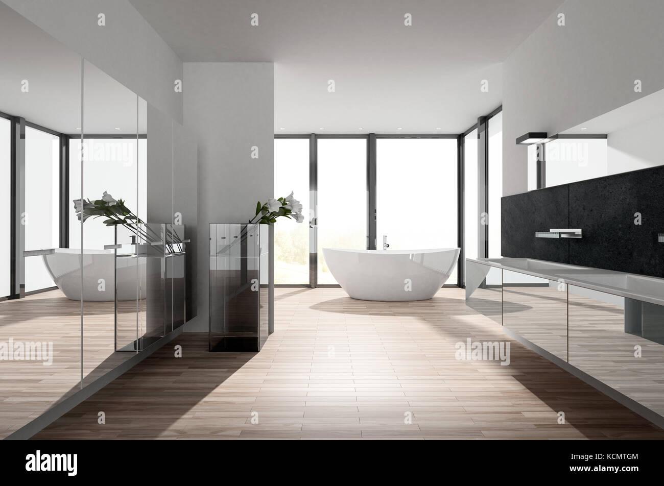 Salle de bains de luxe moderne ensoleillée avec un mur ...