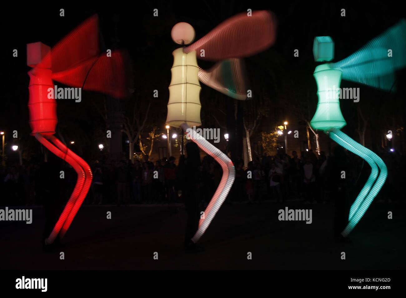 Barcelone, Espagne, 2017. Géants de la lumière dans le cadre de la Mercé, fête de la ville Banque D'Images