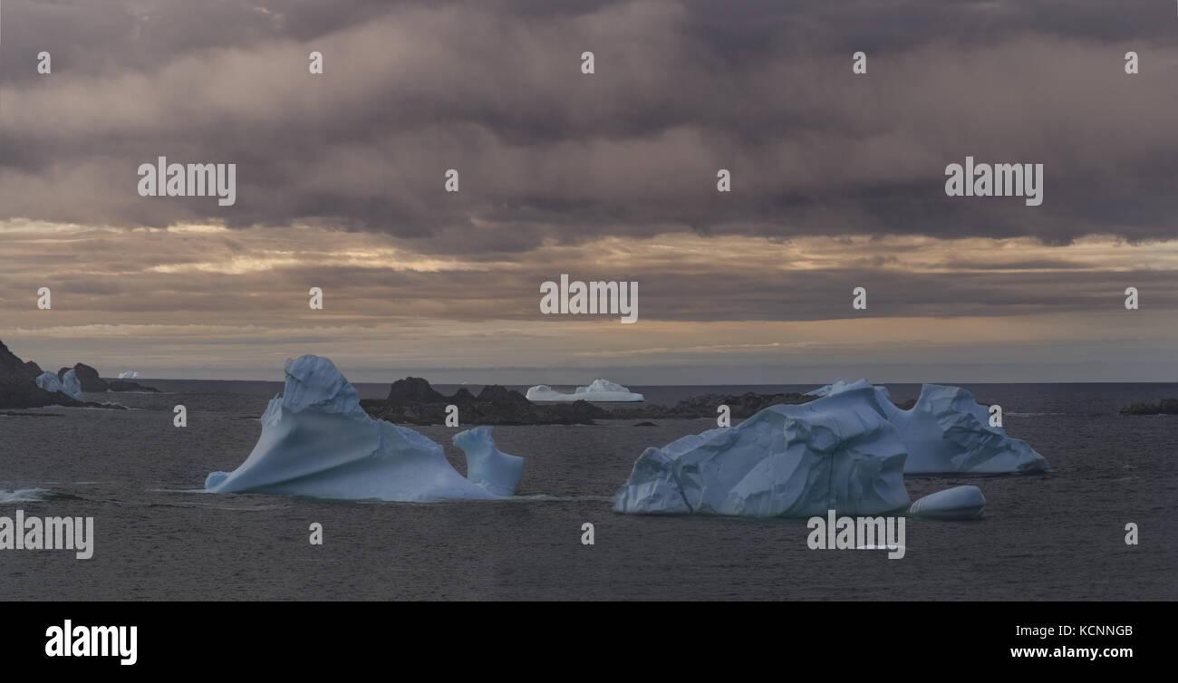Ice bergs, Durrell, Twillingate, New World Island, Terre-Neuve et Labrador Photo Stock