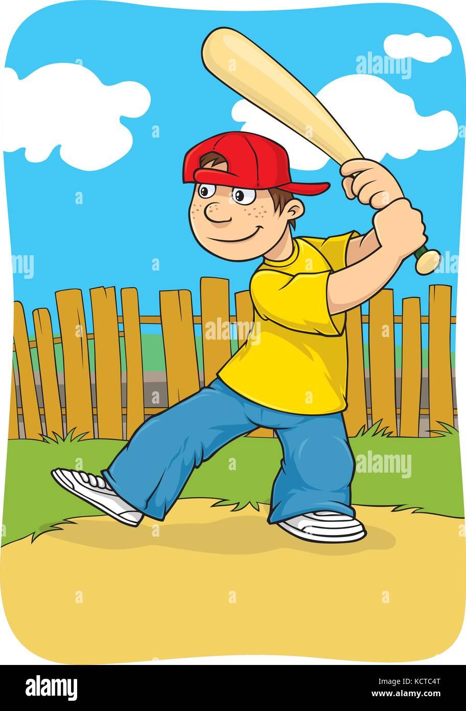 Vector cartoon d'un garçon jouant au baseball dans l'arrière-cour Photo Stock