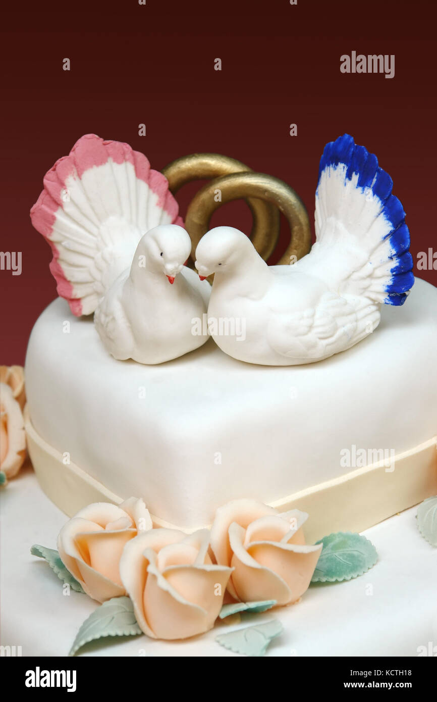 Gros Plan Du Gâteau Glacé Blanc Avec Deux Colombes Blanches