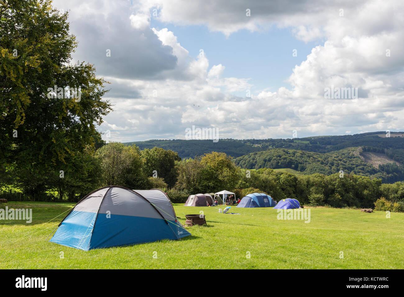 Tentes de camping, Pays de Galles, Royaume-Uni Photo Stock