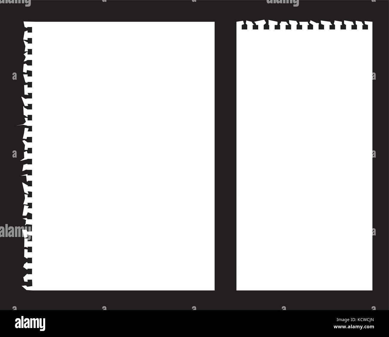 Note livre papier déchiré des scénarios sur un fond noir Photo Stock