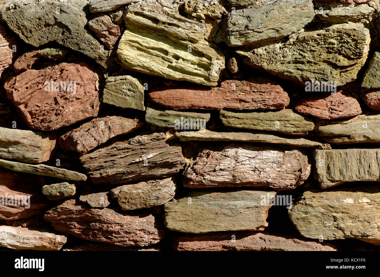 Mur en pierre locale en Angleterre devon uk Photo Stock