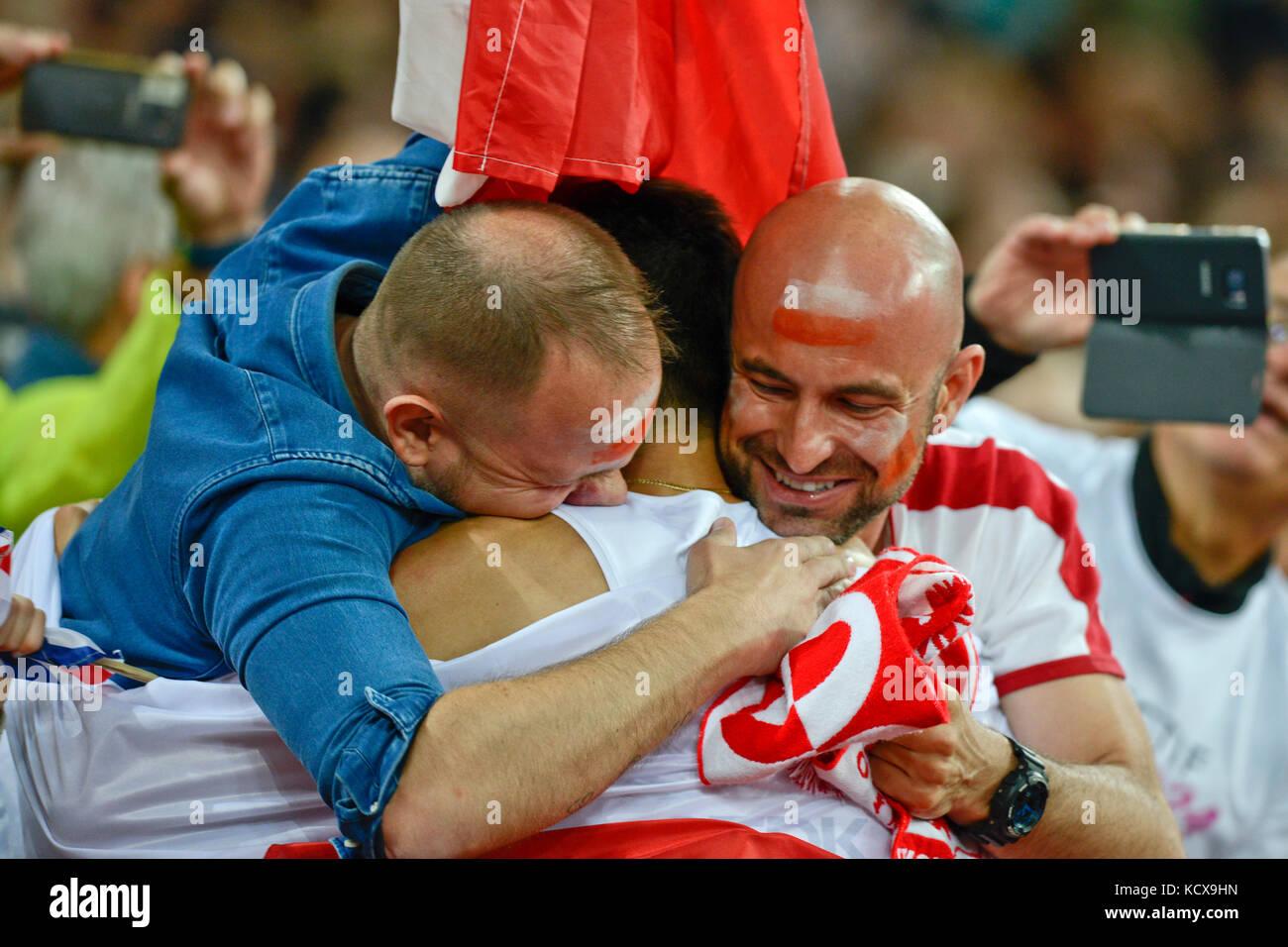 Polish fans célébrer Photo Stock