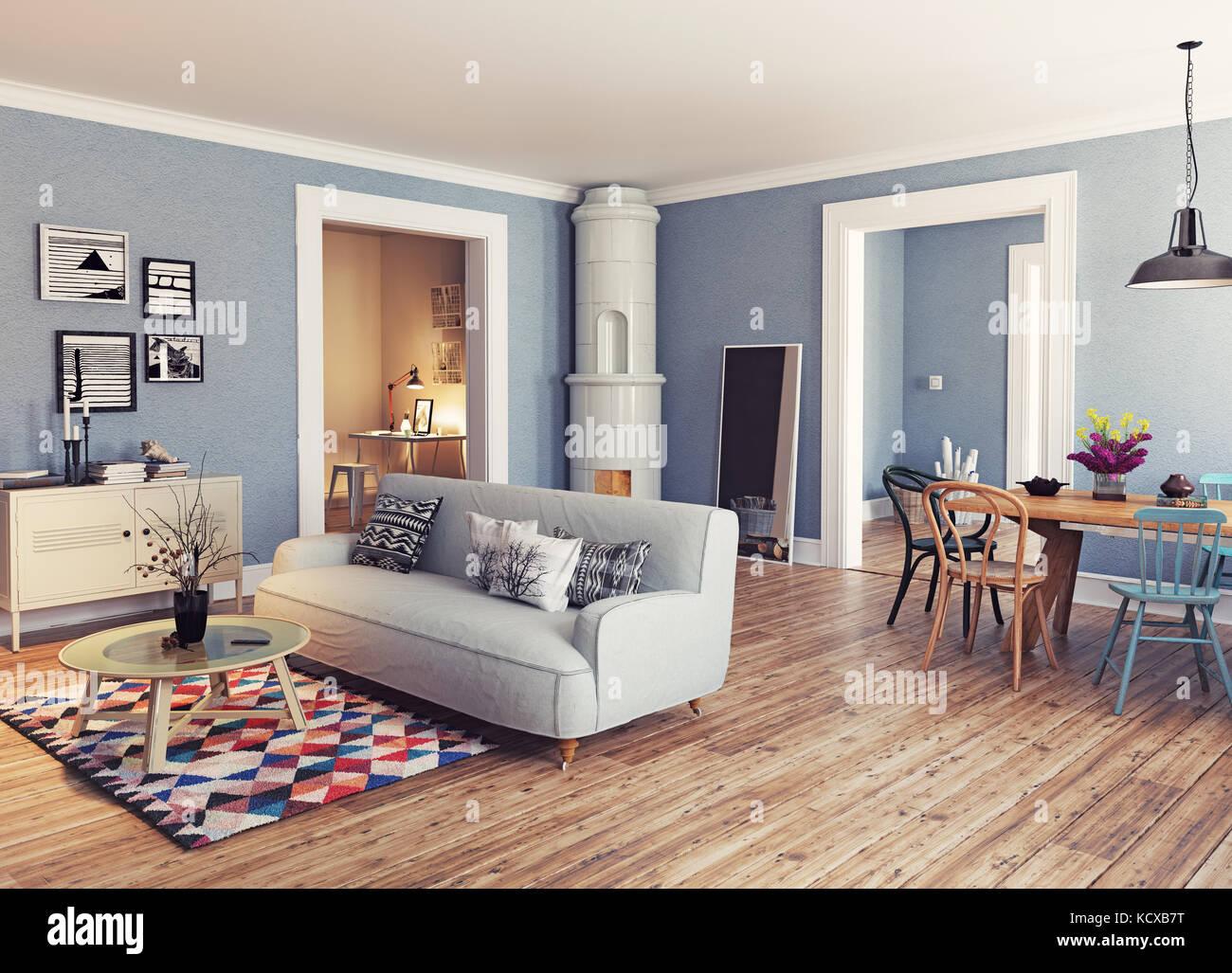 Cet appartement moderne de style scandinave.. Le rendu 3D concept illustration Photo Stock