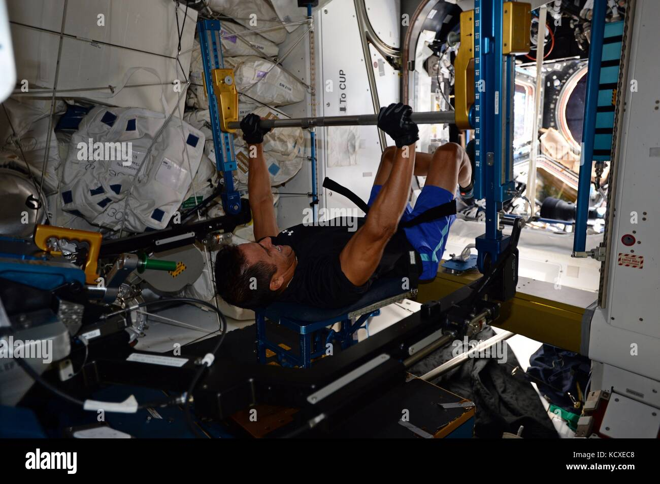Expedition 53 L'astronaute américain Joe acaba pendant la formation de poids à bord de la station Photo Stock