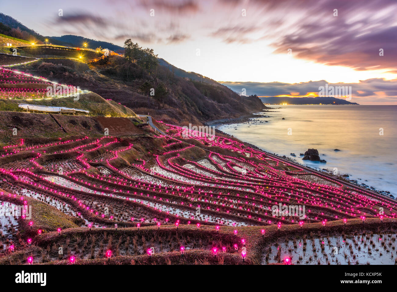 Wajima, japon à shiroyone les terrasses de riz de senmaida nuit s'allumer. Photo Stock