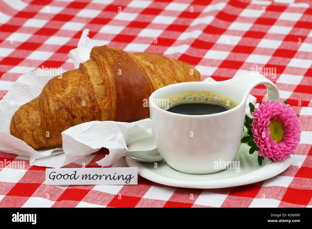 Bonjour Carte Avec Tasse De Café Noir Et Un Croissant