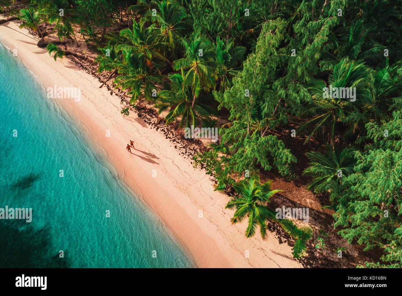 Vue aérienne de la plage de l'île tropicale, la République dominicaine Photo Stock