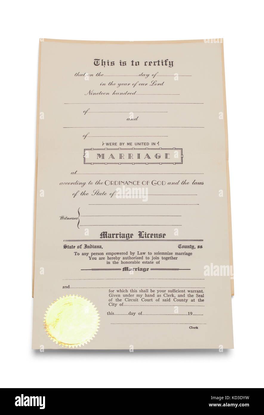 Certificat de mariage avec copie espace isolé sur un fond blanc. Photo Stock