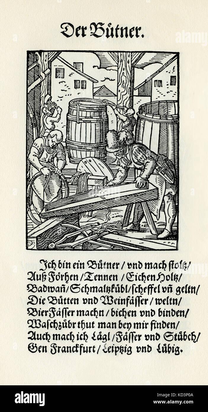 Cooper / fabricant de tonneaux (der Buttner / Kufer), du Livre des métiers / Das Standebutch (Panoplia omnium illiberalium mécanicarum...), Collection de coupures de bois par Jost Amman (13 juin 1539 -17 mars 1591), 1568 avec rhyme accompagné par Hans Sachs (5 novembre 1494 - 19 janvier 1576) Banque D'Images