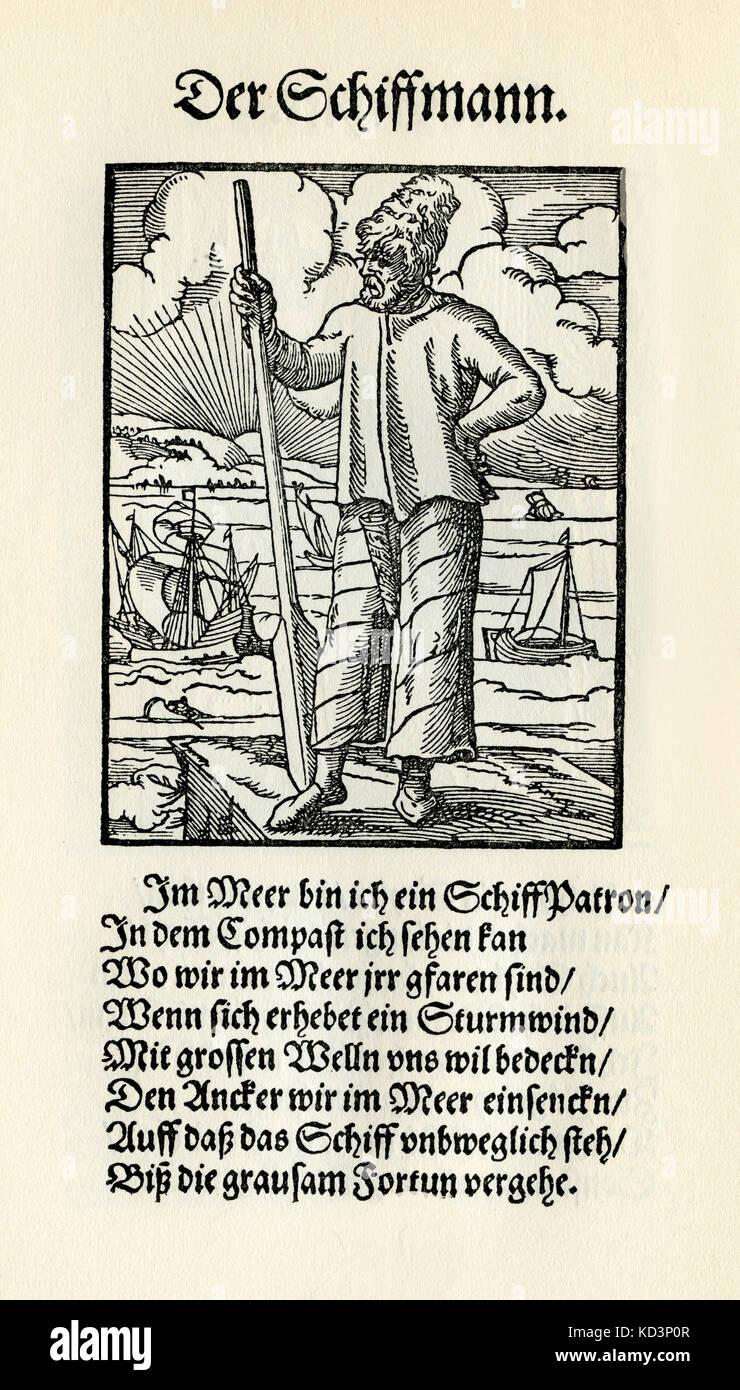 Marin (der Schiffmann / Schiffer), du Livre des métiers / Das Standebuch (Panoplia omnium illiberalium mécanicarum...), Collection de coupures de bois par Jost Amman (13 juin 1539 -17 mars 1591), 1568 avec rhyme accompagné par Hans Sachs (5 novembre 1494 - 19 janvier 1576) Banque D'Images