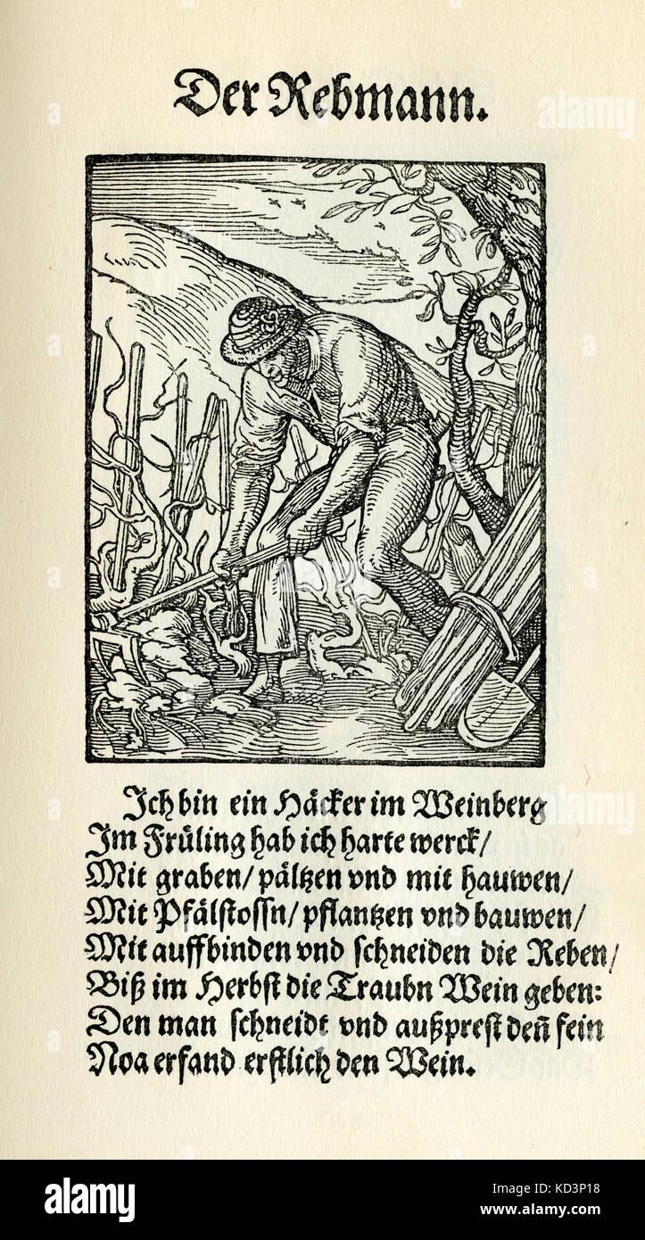 Vintner / viticulteurs (der Rebmann / Winzer), du Livre des métiers / Das Standebuch (Panoplia omnium illiberalium mechancicarum...), Collection de coupures de bois par Jost Amman (13 juin 1539 -17 mars 1591), 1568 avec rhyme accompagné par Hans Sachs (5 novembre 1494 - 19 janvier 1576) Banque D'Images