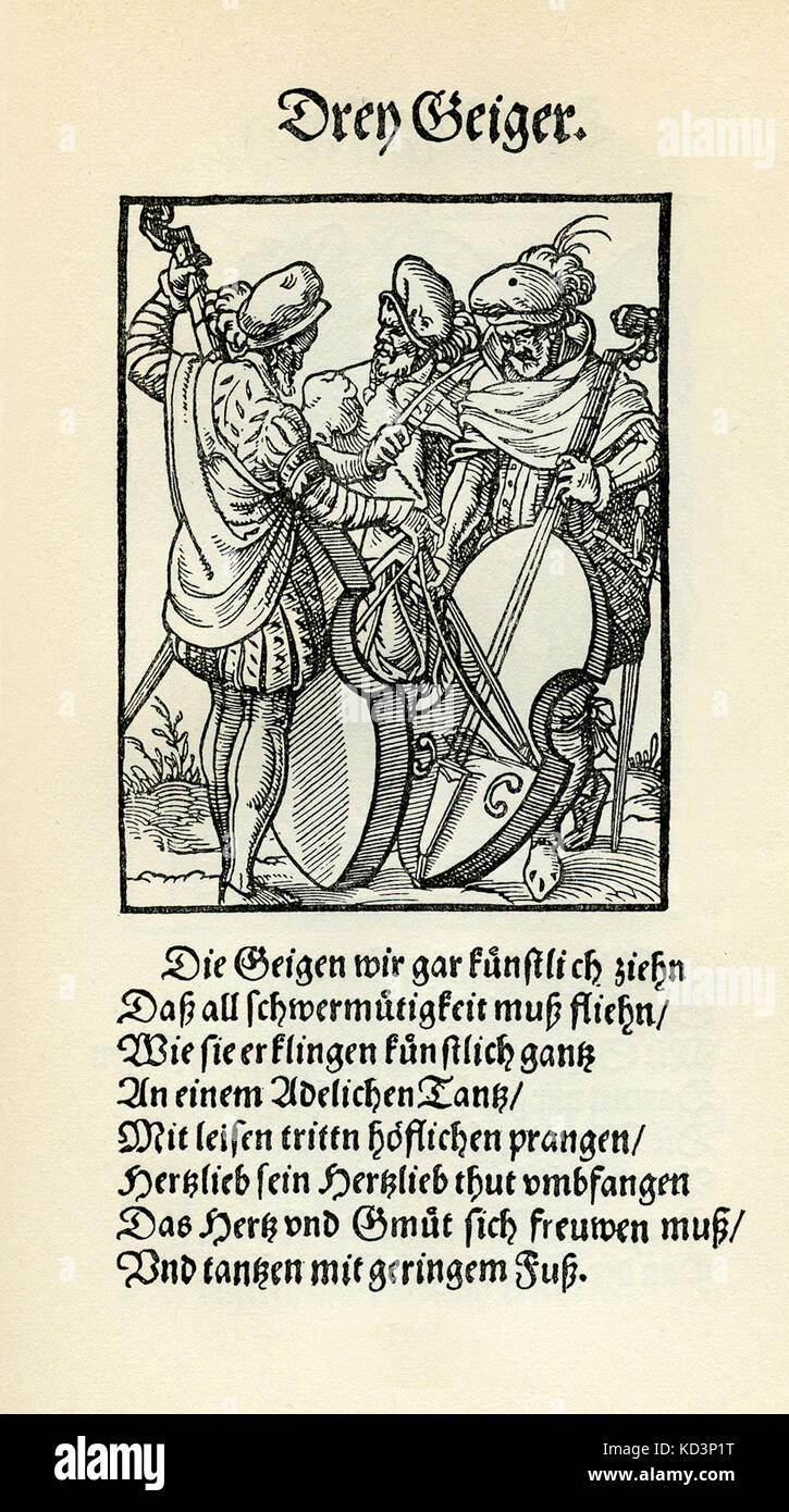 Trois musiciens jouant des instruments à cordes - viol / vielle (drei Geiger), du Livre des métiers / Das Standebug (Panoplia omnium illiberalium mécanicarum...), Collection de coupures de bois par Jost Amman (13 juin 1539 - 17 mars 1591), 1568 avec rhyme accompagné par Hans Sachs (5 novembre 1494 - 19 janvier 1576) Banque D'Images