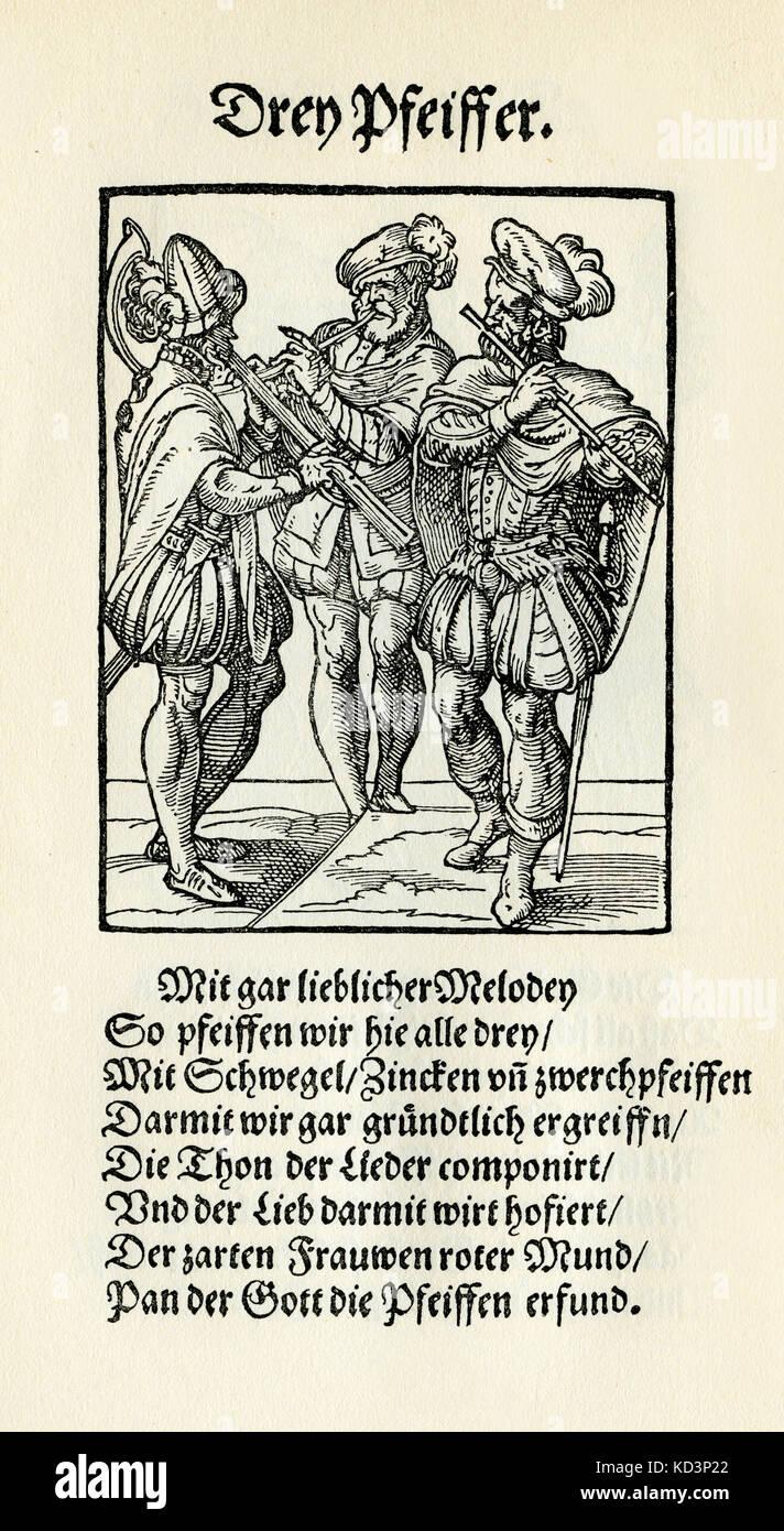Trois musiciens jouant des pipes (drei Pfeiffer), du Livre des métiers / Das Standebuch (Panoplia omnium illiberalium mechanicarum...), Collection de coupures de bois par Jost Amman (13 juin 1539 -17 mars 1591), 1568 avec le rhyme accompagnant par Hans Sachs (5 novembre 1494 - 19 janvier 1576) Banque D'Images