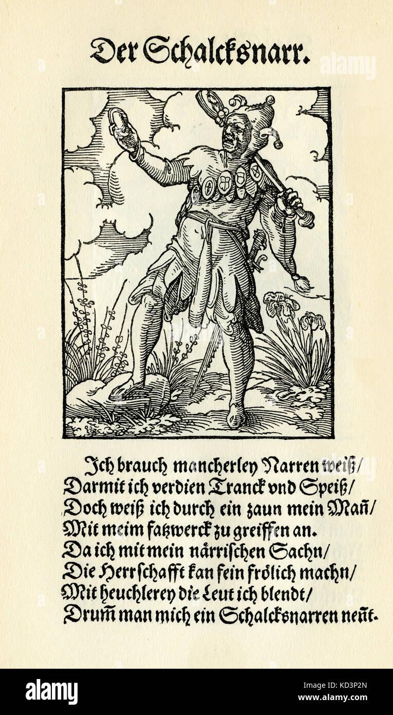 Prankster / Fool / jester (der Schalksnarr), du Livre des métiers / Das Standebug (Panoplia omnium illiberalium mécanicarum...), Collection de coupes de bois par Jost Amman (13 juin 1539 -17 mars 1591), 1568 avec rhyme accompagné par Hans Sachs (5 novembre 1494 - 19 janvier 1576) Banque D'Images