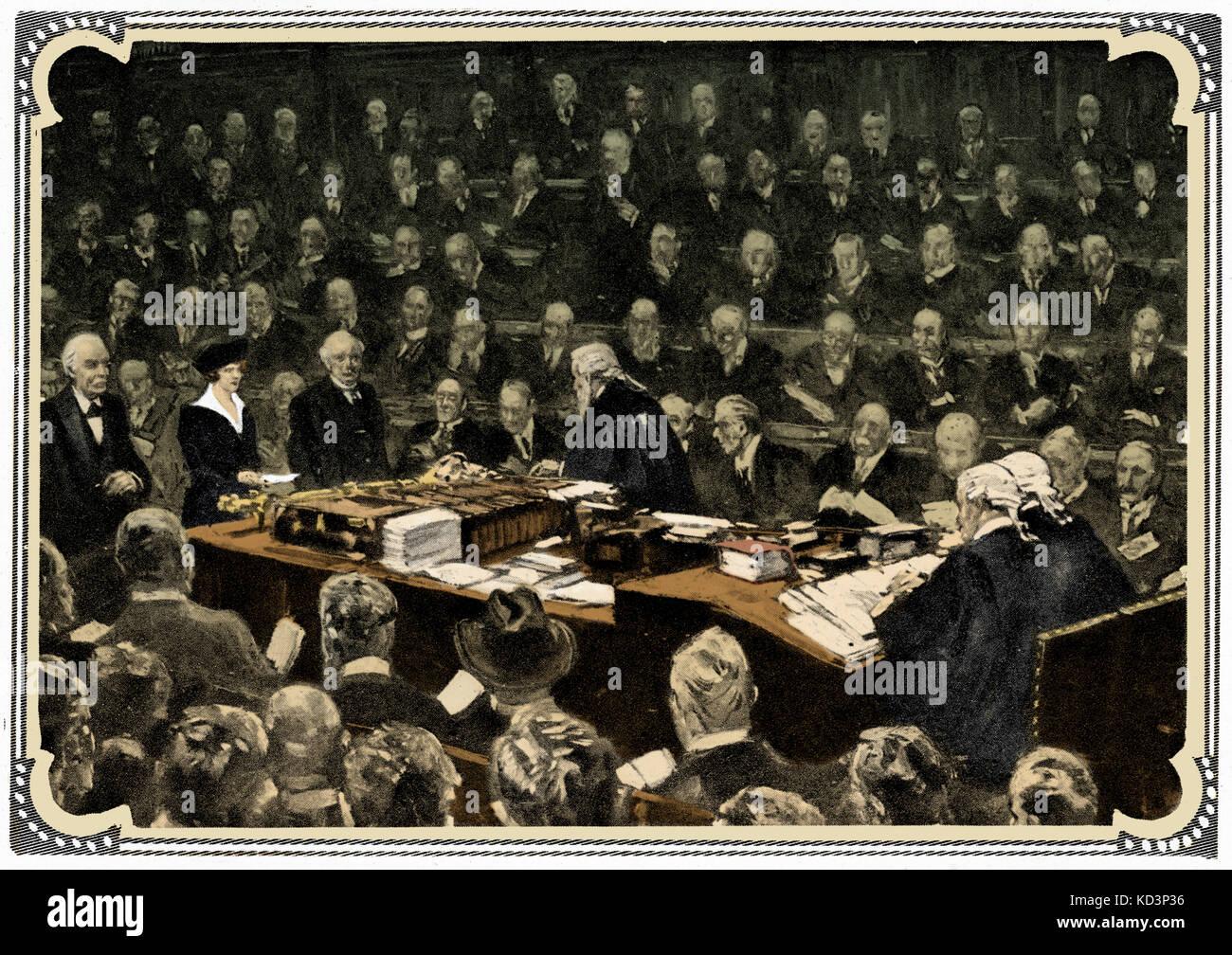 Première femme députée Lady Astor la prestation de serment à la Chambre des communes le 1 décembre 1919 Banque D'Images