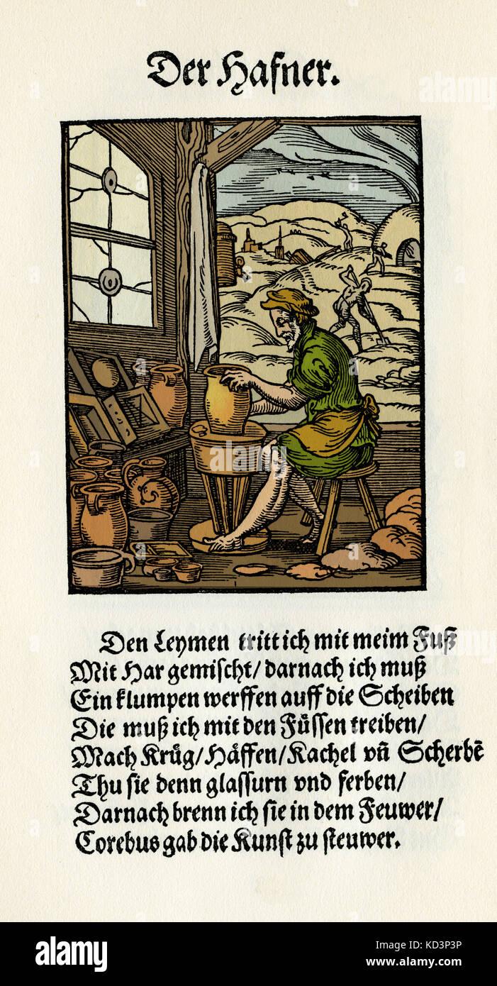 Potter (der Hafner / Topfer), du Livre des métiers / Das Standebuch (Panoplia omnium illiberalium mécanicarum...), Collection de boisés par Jost Amman (13 juin 1539 -17 mars 1591), 1568 avec rhyme accompagné par Hans Sachs (5 novembre 1494 - 19 janvier 1576) Banque D'Images