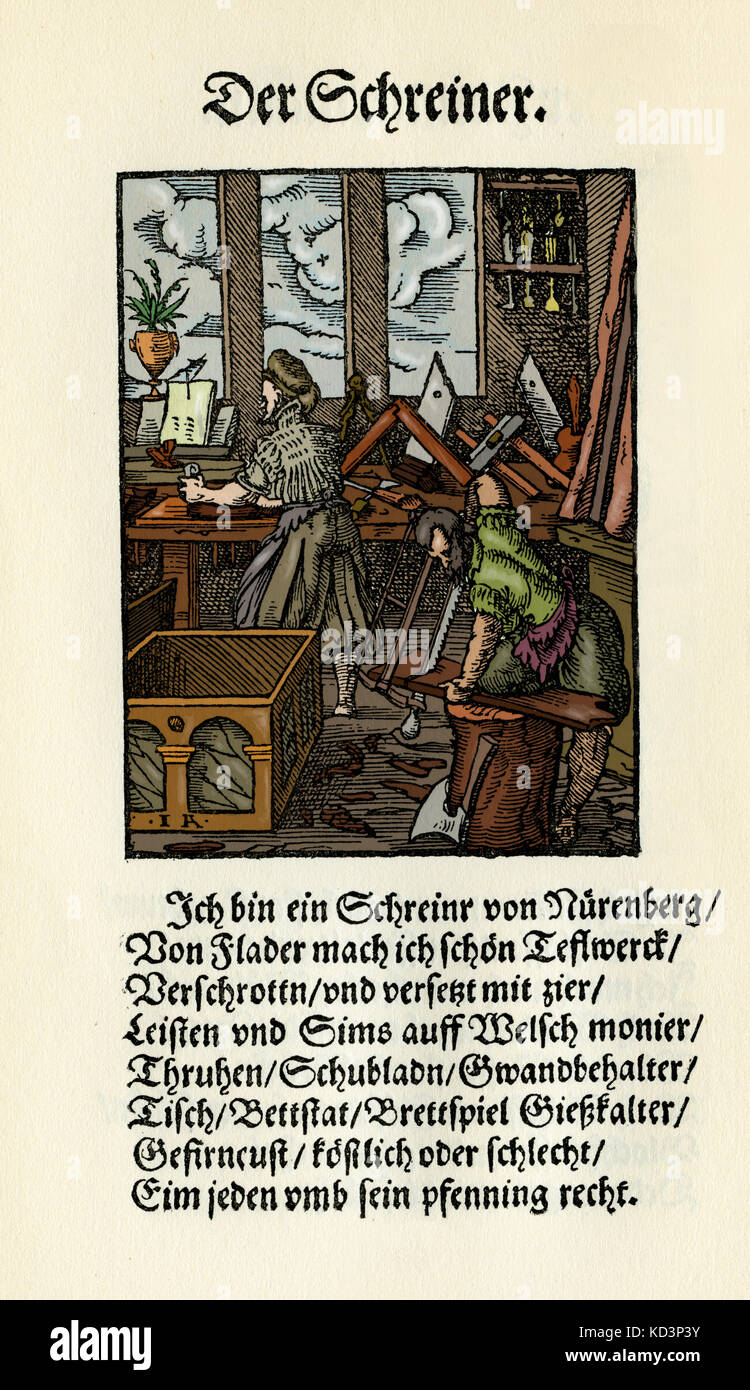 Menuisier / ébéniste (der Schreiner), du Livre des métiers / Das Standebuch (Panoplia omnium illiberalium mechanicarum...), Collection de boisés par Jost Amman (13 juin 1539 -17 mars 1591), 1568 avec rhyme accompagné par Hans Sachs (5 novembre 1494 - 19 janvier 1576) Banque D'Images
