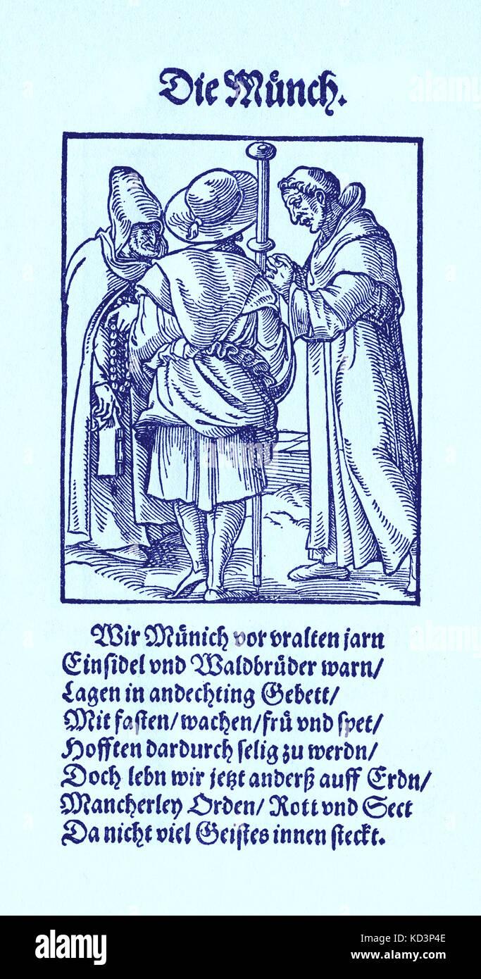 Le moine (die Monch) du Livre des métiers / Das Standebuch (Panoplia omnium illiberalium mécanicarum...), Collection de coupures de bois par Jost Amman (13 juin 1539 -17 mars 1591), 1568 accompagné de rhyme by Hans Sachs (5 novembre 1494 - 19 janvier 1576) Banque D'Images