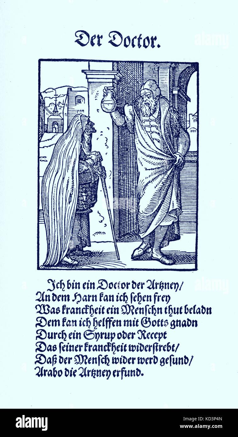 Le docteur (der Doctor), de Das Standebuch, (Panoplia omnium illiberalium mécanicarum..., Livre des métiers) Collection de coupures de bois par Jost Amman (13 juin 1539 -17 mars 1591), 1568 avec le rhyme accompagnant par Hans Sachs (5 novembre 1494 - 19 janvier 1576) Banque D'Images