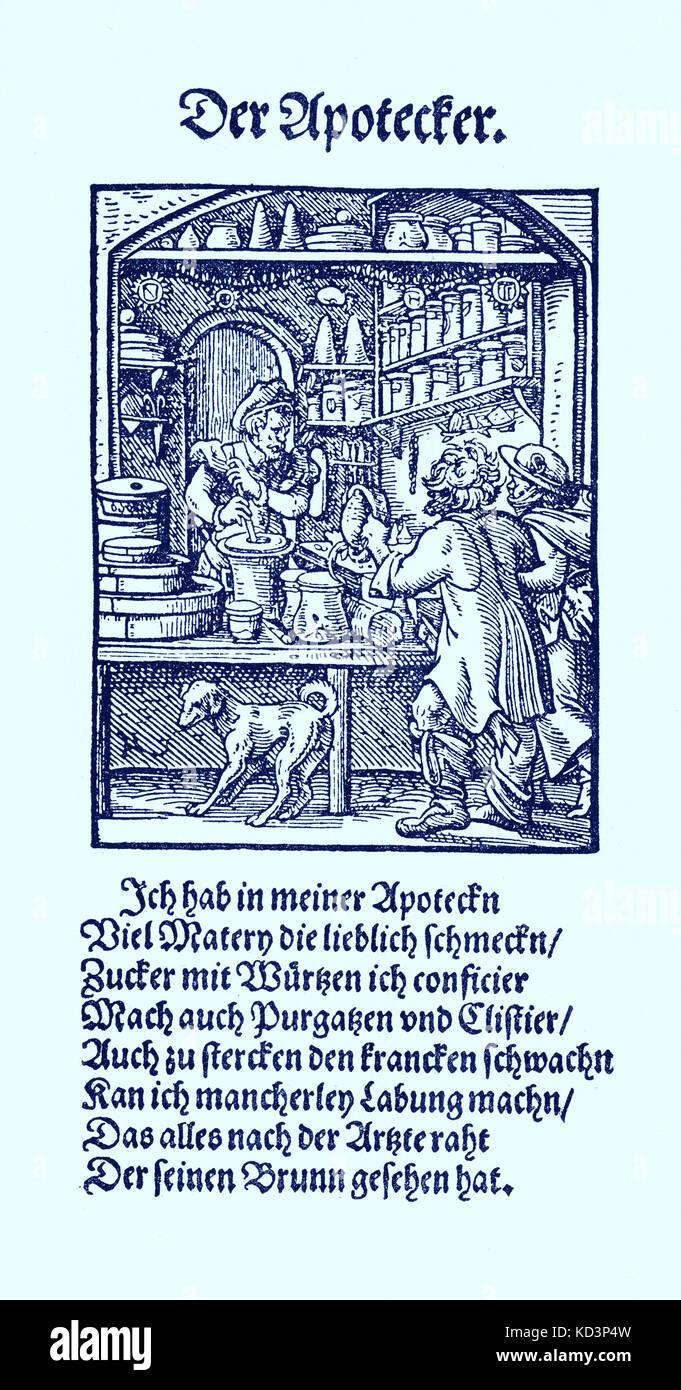 L'apothecaire (der Apotheker) du Livre des métiers / Das Standebuch (Panoplia omnium illiberalium mechanicarum...), Collection de coupures de bois par Jost Amman (13 juin 1539 -17 mars 1591), 1568 avec le rhyme accompagnant par Hans Sachs (5 novembre 1494 - 19 janvier 1576) Banque D'Images
