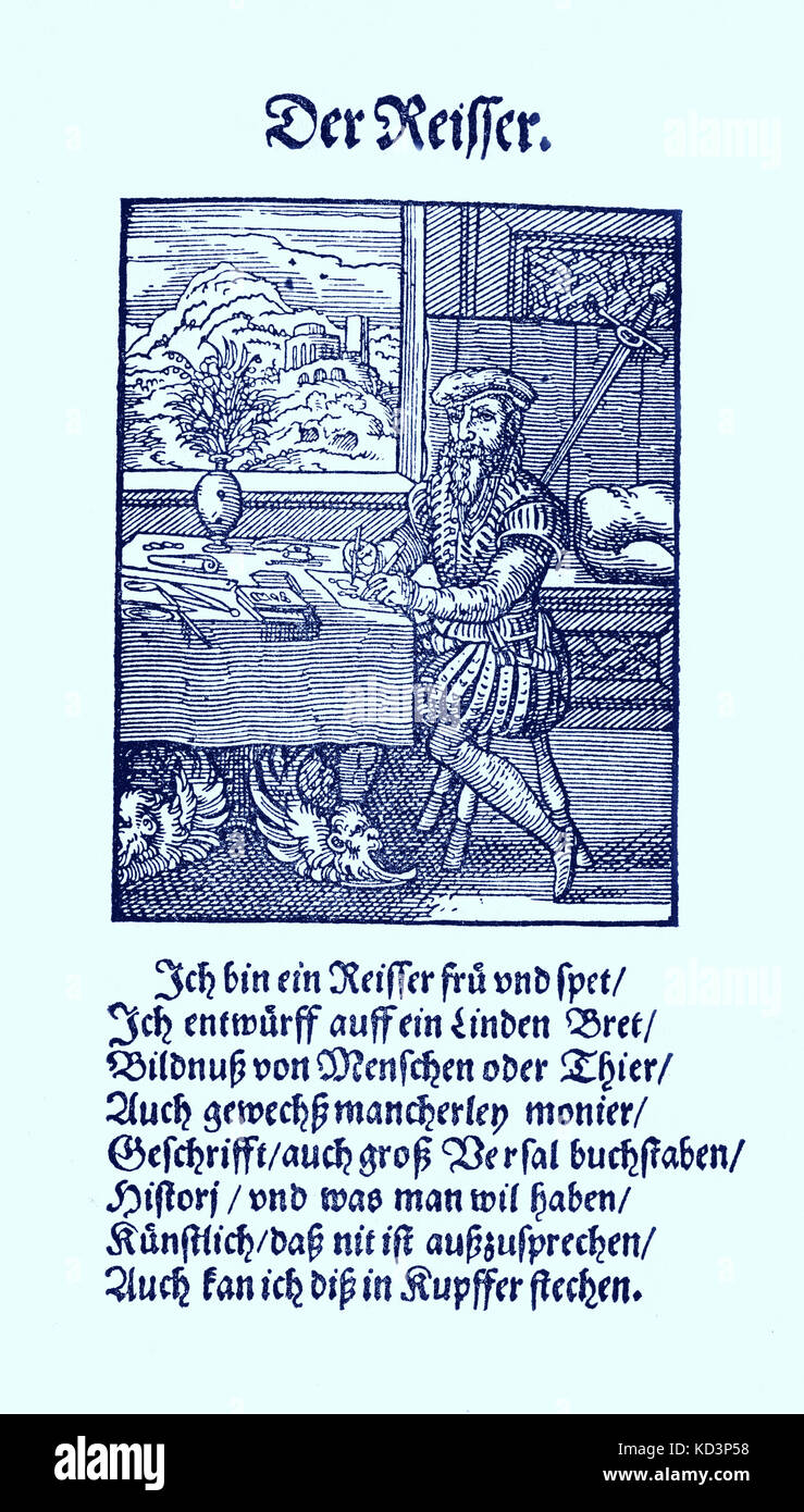 Graveur / dessinateur (der Reisser), du Livre des métiers / Das Standebuch (Panoplia omnium illiberalium mechanicarum...), Collection de boisés par Jost Amman (13 juin 1539 -17 mars 1591), 1568 avec rhyme accompagné par Hans Sachs (5 novembre 1494 - 19 janvier 1576) Banque D'Images