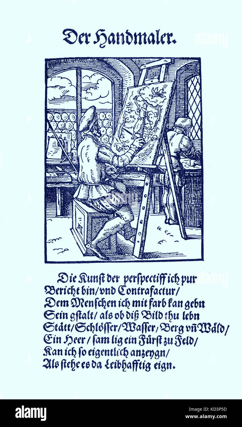 Illuminateur (der Briefmaler / Brieffmaler), du Livre des métiers / Das Standebuch (Panoplia omnium illiberalium mechancicarum...), Collection de coupures de bois par Jost Amman (13 juin 1539 -17 mars 1591), 1568 avec rhyme accompagné par Hans Sachs (5 novembre 1494 - 19 janvier 1576) Banque D'Images