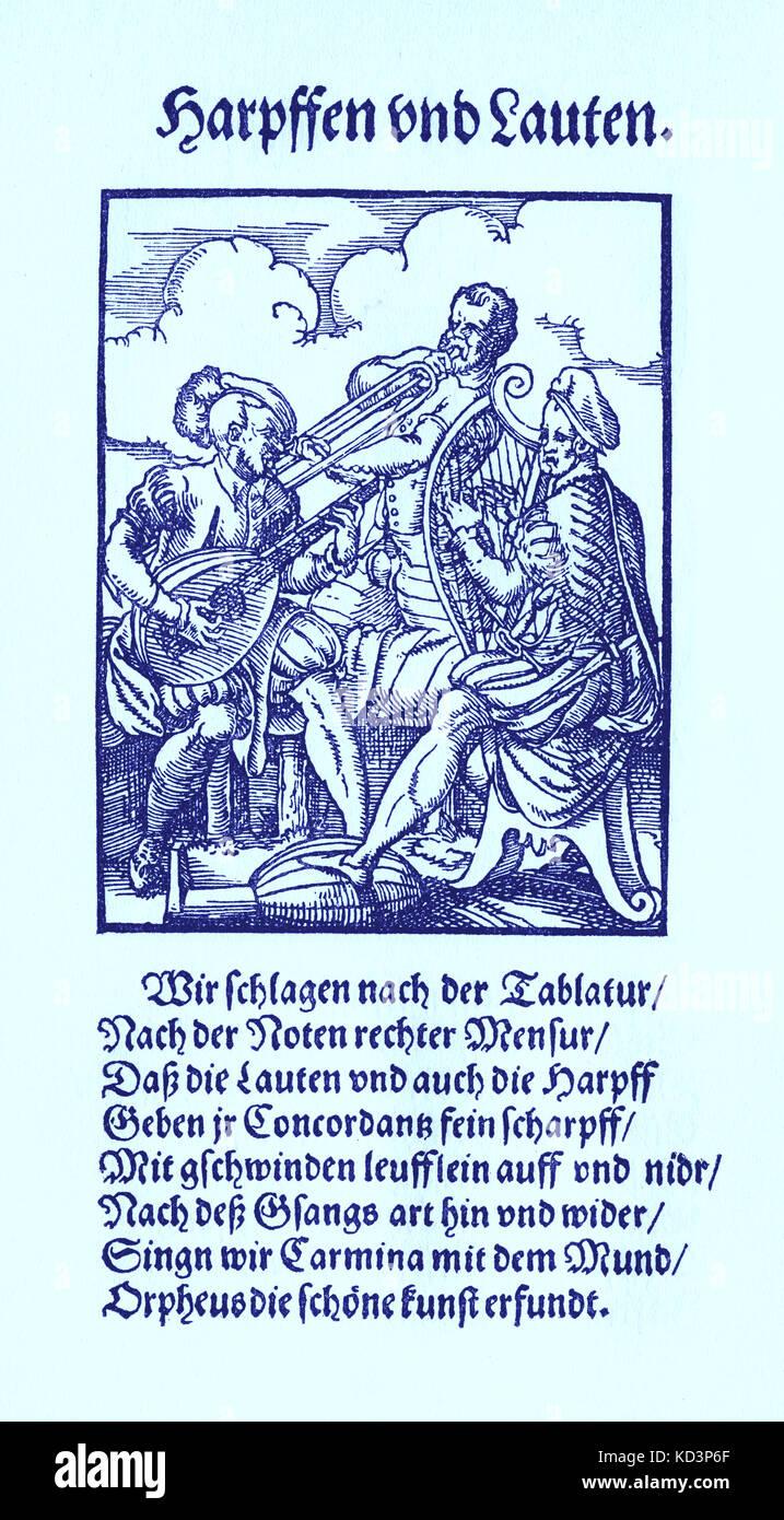 Joueurs de harpe et de luth (Harpfen und Lauten), du Livre des métiers / Das Standebuch (Panoplia omnium illiberalium mécanicarum...), Collection de coupures de bois par Jost Amman (13 juin 1539 -17 mars 1591), 1568 avec rhyme accompagné par Hans Sachs (5 novembre 1494 - 19 janvier 1576) Banque D'Images