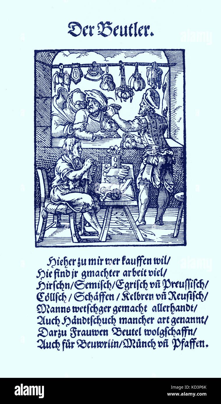 Fabricant de sacs en cuir (der Beutler), du Livre des métiers / Das Standebuch (Panoplia omnium illiberalium mécanicarum...), Collection de boisés par Jost Amman (13 juin 1539 - 17 mars 1591), 1568 avec rhyme accompagné par Hans Sachs (5 novembre 1494 - 19 janvier 1576) Banque D'Images
