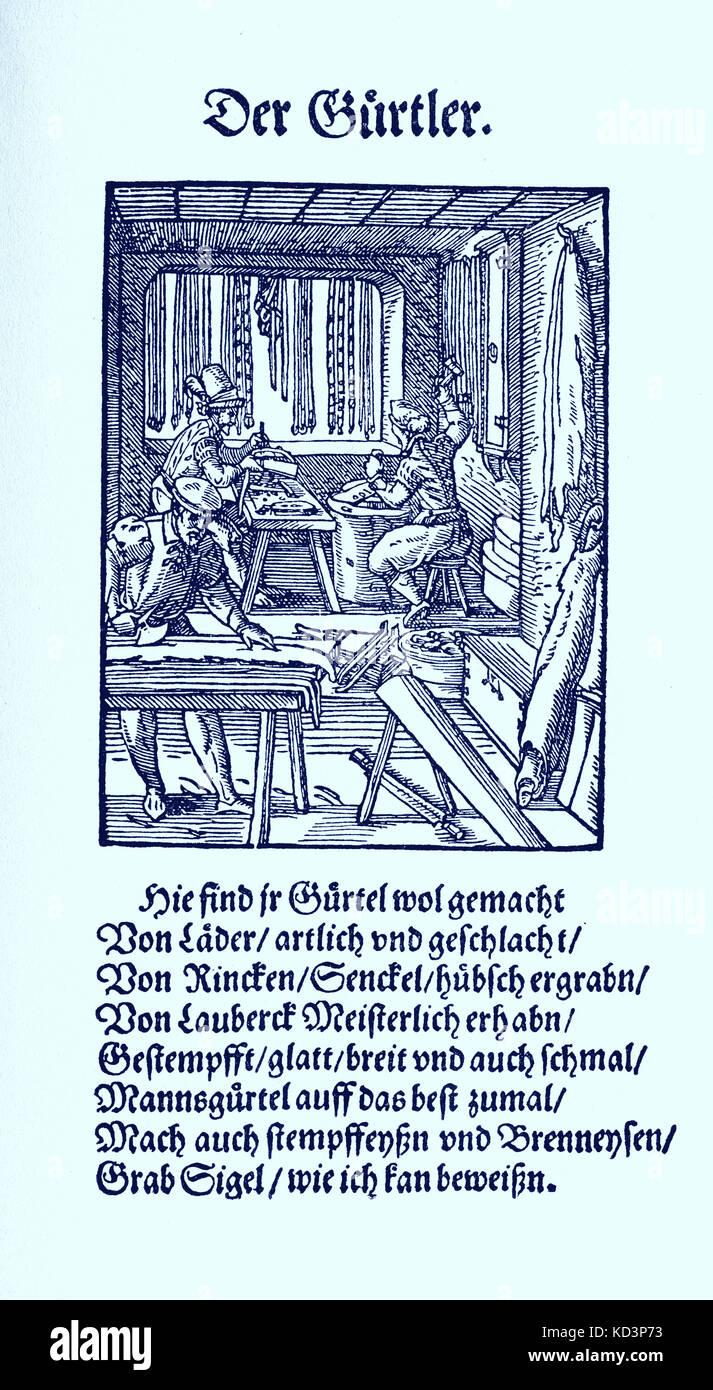 Fabricant de tapis (der Gurtler), du Livre des métiers / Das Standebuch (Panoplia omnium illiberalium mécanicarum...), Collection de boisés par Jost Amman (13 juin 1539 -17 mars 1591), 1568 avec rhyme accompagné par Hans Sachs (5 novembre 1494 - 19 janvier 1576) Banque D'Images